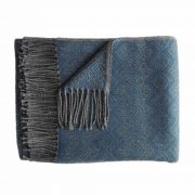 Alpaca Blanket / Throw with fringes gray - steel blue, alpaca blend throw, BUY 2 30% OFF
