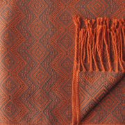 Alpaca Blanket / Throw with fringes orange-brown, alpaca blend throw BUY 2 30% OFF
