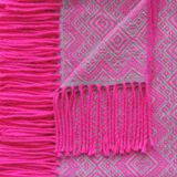Alpaca Blanket / Throw with fringes pink-grey, alpaca blend throw BUY 2 30% OFF