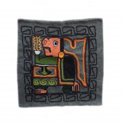 Pillow case wool hand embroidered with ethnic pattern 16 x 16 inch